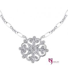 14k White Gold Floral Accented Vintage 0-53ct Round Cut Diamond Necklace 17-5