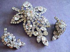 Juliana D&E Clear Rhinestone Brooch-Earring Set by RenaissanceFair