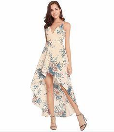 Apricot Floral Print Summer Slip Dresses