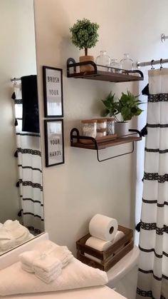 Home Decor Hooks, Home Decor Bedroom, Home Decor Ideas, Bathroom Decor Ideas On A Budget, Small Bathroom Organization, Ideas To Decorate Bathroom, Farm House Bathroom Decor, House Ideas On A Budget, Cute Bathroom Ideas