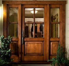 Vail Style Knotty Alder 4 Lite Craftsman Entry Door Unit With Sidelites