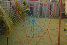 How to Make a Spider Web Obstacle Course - Mother Natured Backyard Obstacle Course, Kids Obstacle Course, Games For Kids, Activities For Kids, Web Activity, Spider Crafts, Ropes Course, 4 Kids, Children