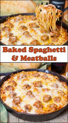 Baked Spaghetti & Meatballs is a perfect dish to cook up for a hungry family! It's hearty, delicious, easy to make, and budget friendly. Baked Spaghetti & Meatballs - 36 Comfort Foods for the Winter Baked Spaghetti And Meatballs, Spaghetti Sauce, Spaghetti Noodles, Baked Spaghetti Recipes, Pizza Baked Spaghetti, Spaghetti Bake Recipe Easy, Spagetti And Meatball Recipe, Spaghetti Dinner, Spaghetti Casserole