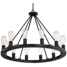 "Lacey 28"" Wide Round Black Chandelier.  too many bulbs but i like the concept"