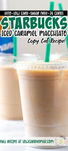 Low Carb Iced Coffee Recipe, Sugar Free Iced Coffee, Sugar Free Starbucks Drinks, Caramel Iced Coffee Recipe, Iced Coffee Drinks, Coffee Drink Recipes, Tea Drinks, Iced Caramel Macchiato Starbucks, Skinny Caramel Macchiato