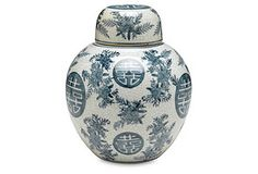 "8"" Bazille Jar, Blue/White*"