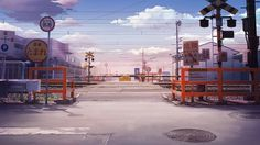 ✮ ANIME ART ✮ anime scenery. . .city street. . .perspective. . .buildings. . .railroad crossing. . .street signs. . .train tracks. . .powerlines. . .sky. . .clouds. . .amazing detail. . .kawaii