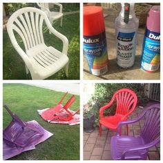 Bye bye old beige plastic chairs, hello gorgeous! Plastic primer and bold spray paint, total time one hour Painting Plastic Furniture, Plastic Patio Furniture, Recycled Furniture, Paint Furniture, Furniture Makeover, Pool Chairs, Lawn Chairs, Spray Paint Plastic, Diy Painting