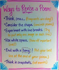 Revising a Poem. -- My students struggle with how to break lines. This will be great reference.