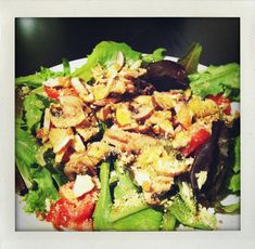 Mushroom Salad w/Spicy Tomatoes, Crushed Almonds, and Rawmesan Cheeze This is my new quick and easy salad that gives protein, vitami...