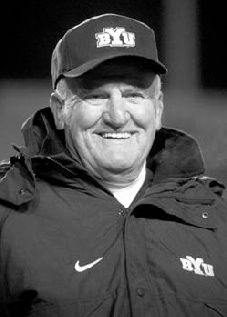 LaVell Edwards, BYU coach of the and College Football Coaches, Football And Basketball, Byu Sports, Brigham Young University, Athletics, Utah, Coaching, Black And White, Board