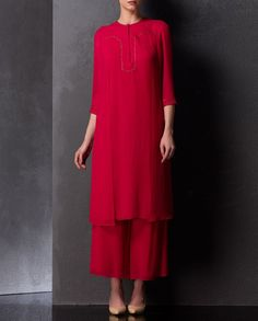 Rose Red Tunic with Metallic Accents | SHOP NOW ON : http://bit.ly/AMPM_buy