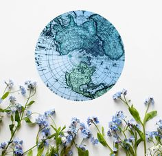 Vintage Map Mousepad Blue Mouse Pad Abstract Cheap by BlissNhome