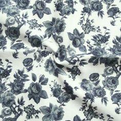 Baumwollstoff bedruckt  Rosen 1  Farbe Grau-Blau Weiss