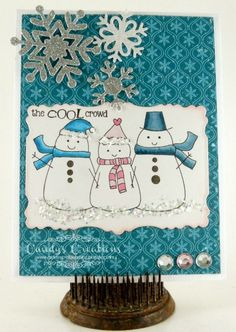 Candy Slabaugh creates a snowman card featuring #Want2Scrap, #TayloredExpressions, #Copics #FlowerSoft #ArtGlitter