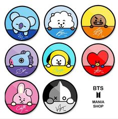 Popsocket and signature of BTS 💝💝💝 Bts Chibi, Pop Stickers, Printable Stickers, Anime Stickers, Bts Drawings, Kawaii Drawings, Kawaii Wallpaper, Bts Wallpaper, Journal Stickers