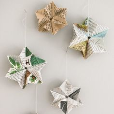 Learn how to fold these pretty paper stars out of old books. Tutorial in English and Swedish.