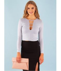 strap • crop • chic | Kelly Plunge V Neck Long Sleeve Top – Grey | $34.97 | f r e e   p o s t