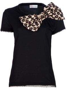 Red Valentino leopard print bow top.