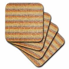 3dRose Bohemian Floral Stripes - Earthy Colors - Orange and Blue - Hippie - Fashion, Ceramic Tile Coasters, set of 4