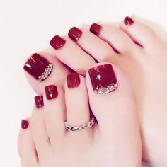 Pretty Toe Nails, Cute Toe Nails, Pretty Toes, Toe Nails Red, Cute Toes, Gradient Nails, Acrylic Nails, French Toe Nails, Pretty Pedicures