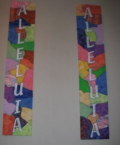 Companion banners to the Easter quilt. A total of three eight foot quilted 'banners' were created. All features the 'ALLELUIA' quilting topdressing Craft Projects, Projects To Try, Banner Ideas, Palm Sunday, Church Crafts, Bible Teachings, Sunday School Crafts, Lent, Worship