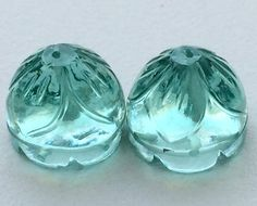 Aqua Green Glass Drops Glass Hand Carved Filigree by gemsforjewels