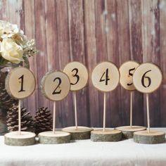 6 Standing Log Slice Table Numbers - Rusitc Wedding-Wedding-GFT Woodcraft