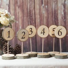 6 Standing Log Slice Table Numbers-Wedding-Default Title-GFT Woodcraft