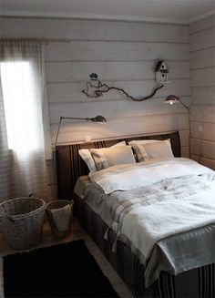 Great reading lights. Also love the natural elements. Would rustic twigs make good curtain rods? Yes!
