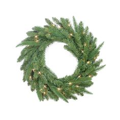 Pre-Lit PE/PVC Mixed Pine Artificial Christmas Wreath
