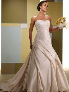 Strapless A-line taffeta bridal gown - More Details → http://fashiononlinepictures.blogspot.com/2013/10/strapless-line-taffeta-bridal-gown.html.