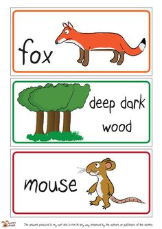 Teacher's Pet - Gruffalo Story Labels - FREE Classroom Display Resource - EYFS, KS1, KS2, julia, donaldson, grufalo, mouse, snake, owl, fox, monsters, monster, story, stories