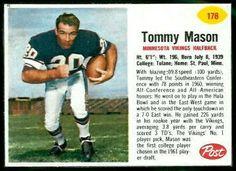#74 Tommy Mason|   - 1962 Post Cereal #178 - Career Terry Kirby, Tom Matte, Darrin Nelson, Dexter Bussey, Matt Snell