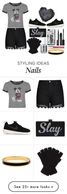 """Black and Silver"" by styles75 on Polyvore featuring Topshop, City Chic, NIKE, Johnstons, Smashbox, NARS Cosmetics, Essie and Halcyon Days"