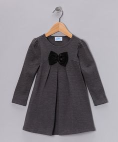 This darling Gray Bow Dress goes on easily over the head! Available now on #zulily today!