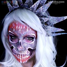 Day 9. I normally do not like combination of #red  #silver and #white . So I challenged myself. I quite like how it turned out. What do you think?  Products used: mehron mixing liquid for glitter. red  orange and black starblends for shadows  NYX eyelashes and mascara Lenses from @pasteldreamsuk. #31daysofMehronhalloween #mehronmakeup #scary  #facepainting #facebook #scared #halloween #halloweencostume #halloweenmakeup #creepy #cosplay #cosplaygirl #russiangirl #хеллоуин #аквагрим #макияж…