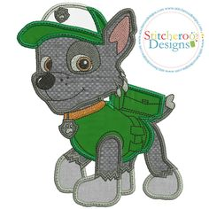Rocky Dog applique set available in 3 sizes by Stitcheroo Designs.