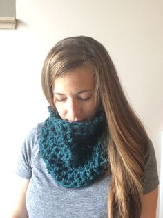 Chunky Crochet Cowl Scarf Infinity Scarf Circle Scarf Teal Winter Scarf by…
