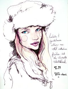 Artist Danny Roberts character Sketchbook plane drawing 219 of IMG Fashion Model Frida Gustavsson