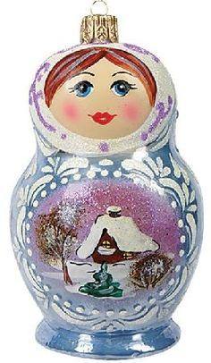 Frosty Matryoshka Polish Glass Christmas Ornament
