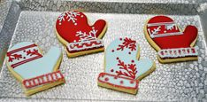 Red and white Christmas mittens