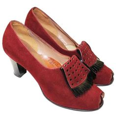 Preowned 1930's Suede Burgundy Kiltie Tassel Peep-toe Heel (19.075 RUB) ❤ liked on Polyvore featuring shoes, pumps, red, peep toe pumps, peeptoe pumps, red peep toe pumps, high heeled footwear and suede peep toe pumps