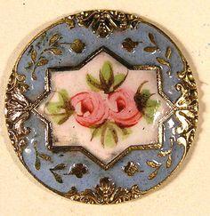 Old Fantastic Hand Painted Medium Brass Enamel w Floral Center Button   eBay