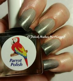 "Parrot Polish!!  ""Black Magic"". How about a built in ‪#‎gradient‬ with a great ‪black to gray #‎thermal‬ polish! This is just unbelievably beautiful!!! Gray is warm, it darkens to black as it gets cooler!  I'm so in love with this, as I do love a gray/black ‪#‎manicure‬ ‪#‎notd‬   You just can't go wrong with this one!!!"