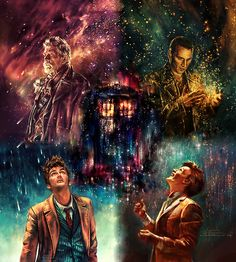Modern Doctors, I love the collage view #DoctorWho #NinthDoctor #TenthDoctor #EleventhDoctor #TimeWarDoctor