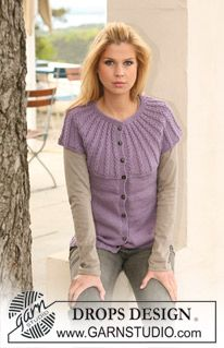 "Knitted DROPS top with cables and raglan in ""Merino Extra Fine"". Size S to XXXL. ~ DROPS Design"
