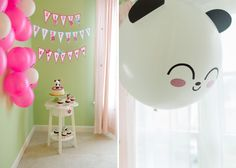 kawaii birthday banner by @Paper Glitter and giant panda balloon