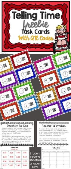 Have you ever wanted to try QR Codes? Try this out for FREE! Give your students an opportunity to practice telling time to the 5-minute interval with these task cards. Students can record their answers and then scan the QR codes to check their work. Kids are highly motivated to complete their work with accuracy when they get to use technology to check their answers.  CCSS, telling time, freebie, task cards, QR codes, math centers, 2nd grade