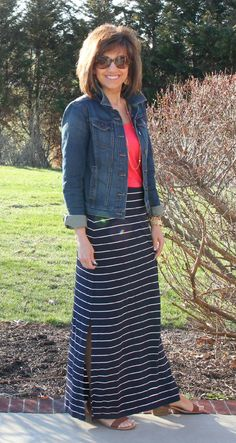 Striped maxi skirt, colored tee, Jean jacket, sandals